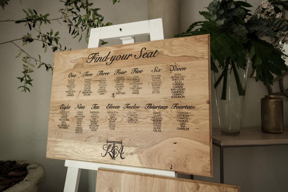 Ash & Ken Wood Engraved Seating Chart