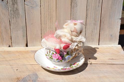 Sleeping Bunny in Teacup
