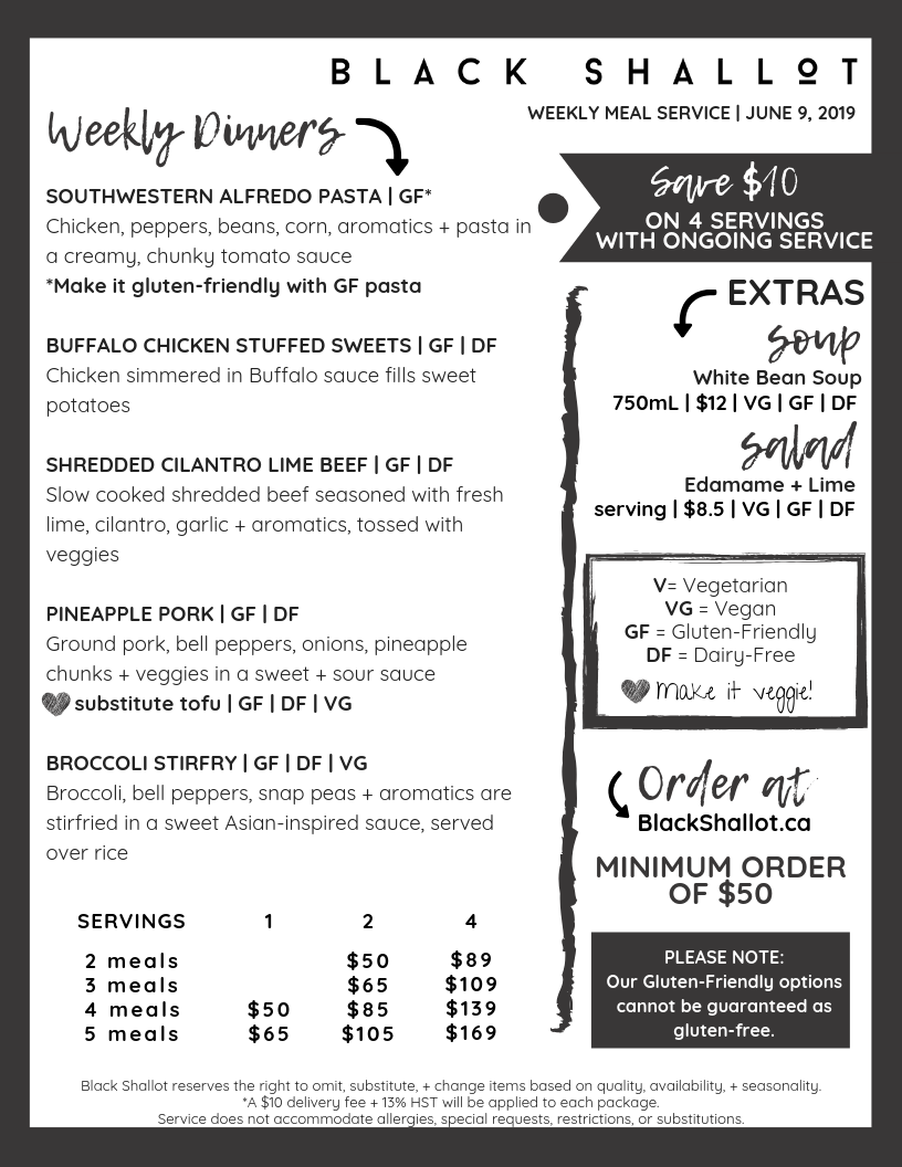 Meal delivery with gluten-friendly, dairy-friendly, vegetarian, and vegan choices!