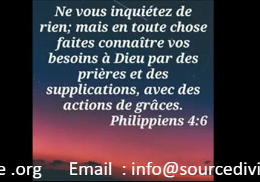 MESSAGE DE SOURCE DIVINE MINISTRIES.