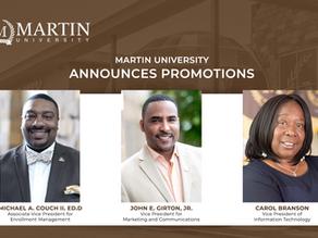 MARTIN UNIVERSITY ANNOUNCES PROMOTIONS