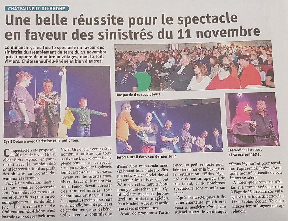 Article Spectacle 5 Janvier Sirius Hypno