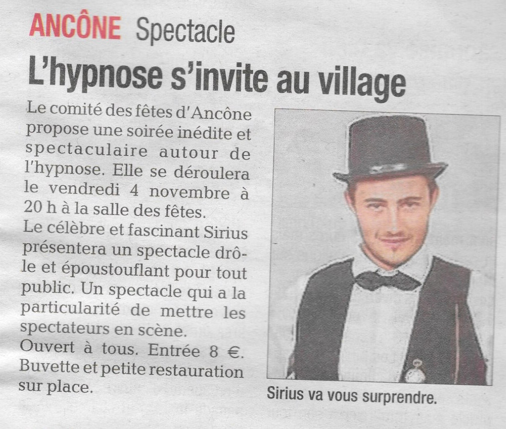 Article La Tribune 3 Novembre 2016 Sirius Hypno
