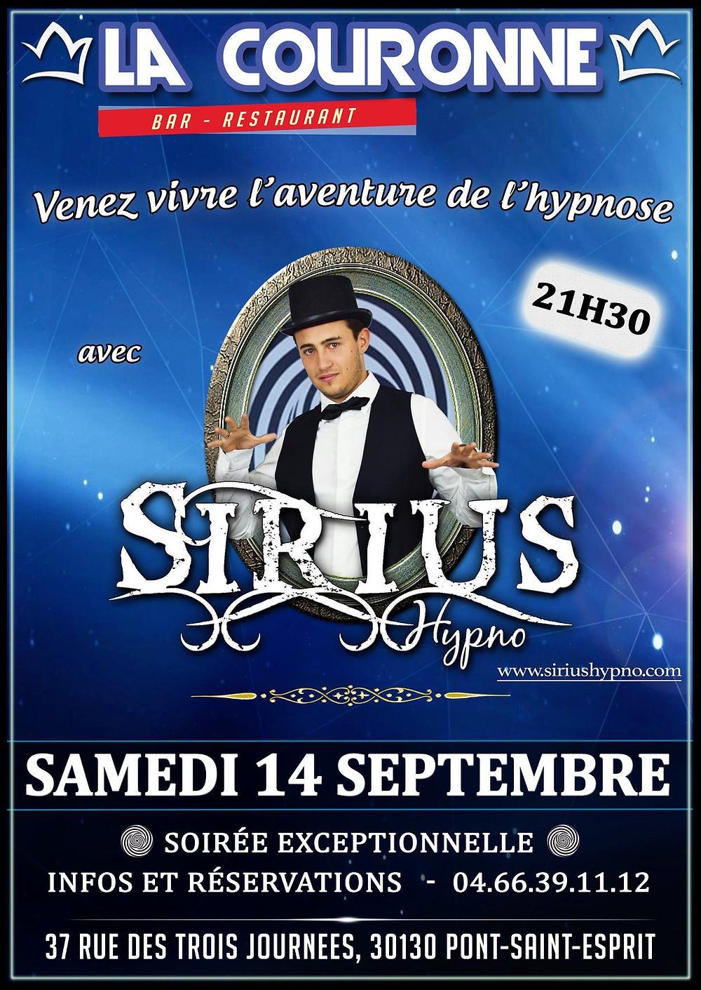 Affiche Spectacle Hypnose Sirius Hypno La Couronne