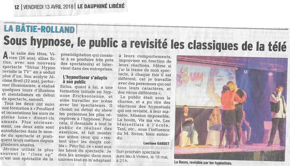 Article Le Dauphiné Libéré Vendredi 13 Avril 2018