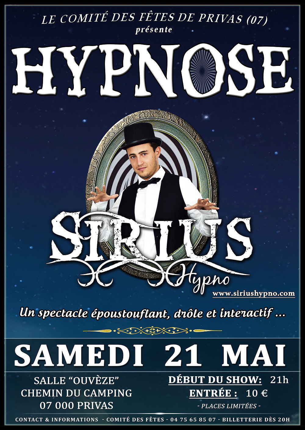 Affiche Sirius Hypno Privas 21 Mai 2016 Spectacle