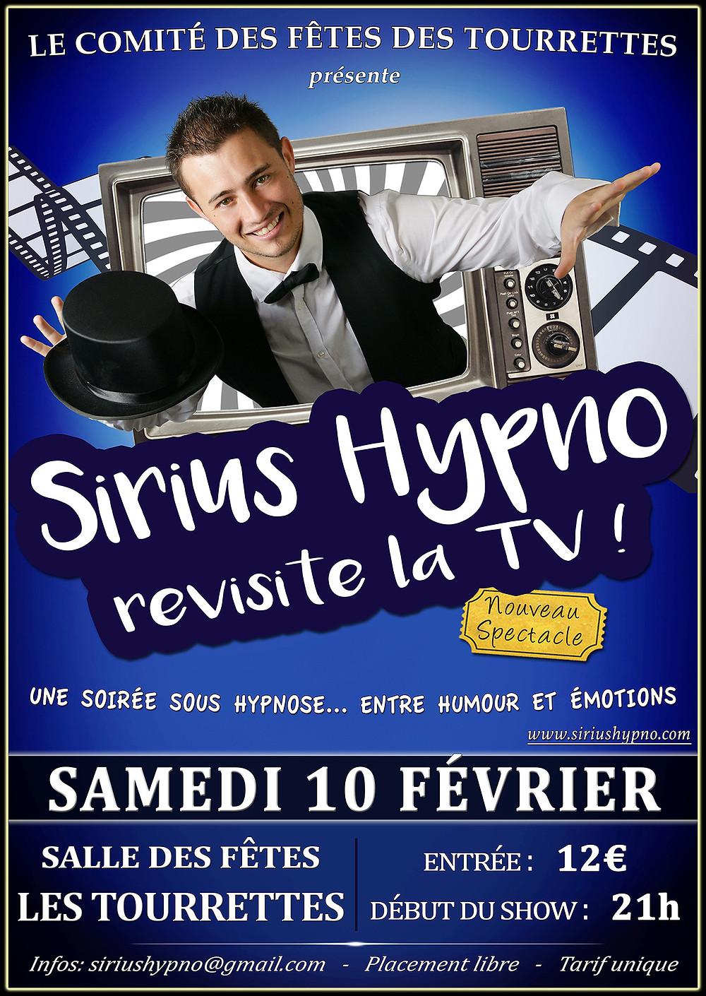 Sirius Hypno revisite la TV aux Tourrettes le 10 Février