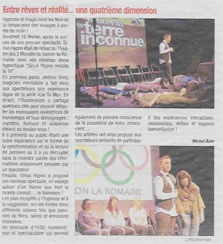 Article du 22 Février 2018 - La Tribune Vaison la Romaine