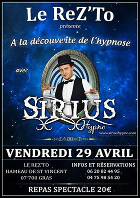 Repas Spectacle 29 Avril Sirius Hypno Le RezTo Gras