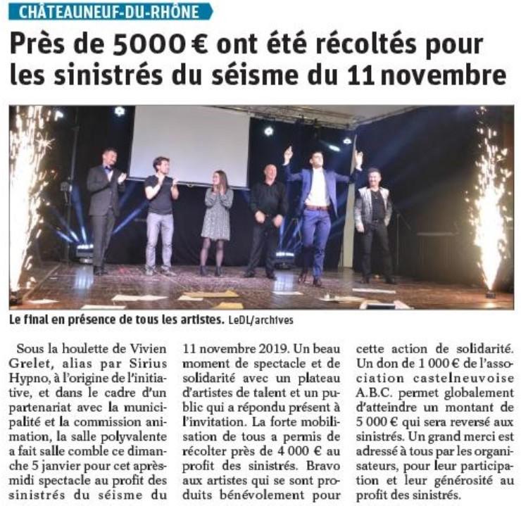 Article Presse Sirius Hypno Dauphiné Libéré