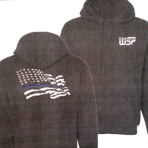 Black Distressed Flag Hooded Sweatshirt