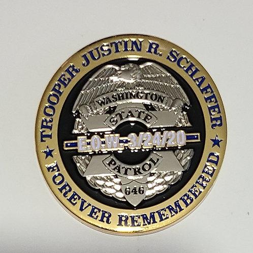 Trooper Justin Schaffer EOW Coin