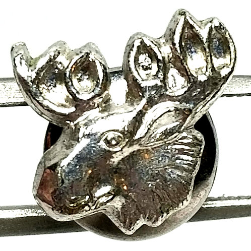 Designer by Provenance, tie tack or pin, moose head motif, silver tone, 1/2 in.