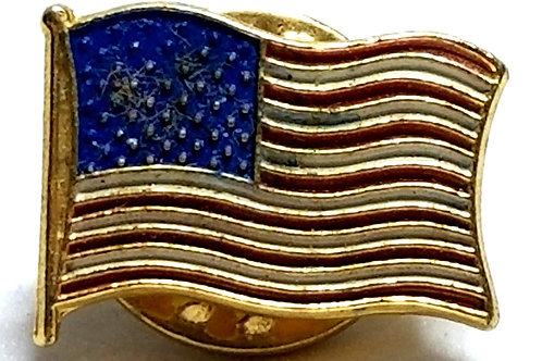 Designer by provenance, tie tack/pin, US flag motif, multi color.