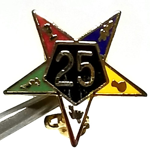 Designer by provenance, pin, Masonic Order of the Eastern Star 25 year motif.