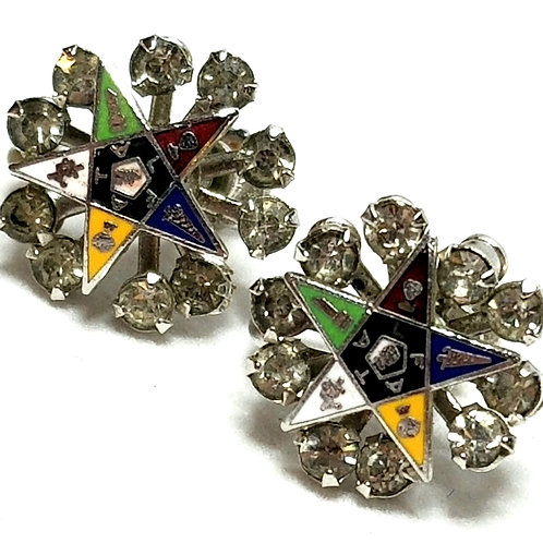 Designer by OES, earrings, screw back, Masonic motif, multi color crystals.