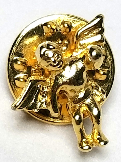 Designer by Provenance, tie tack or pin, Angel motif, gold tone.
