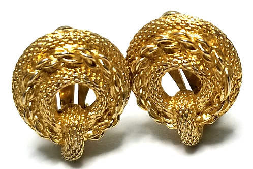 Designer by Kramer, earrings, clip on, rope motif, gold tone, 3/4 inches.