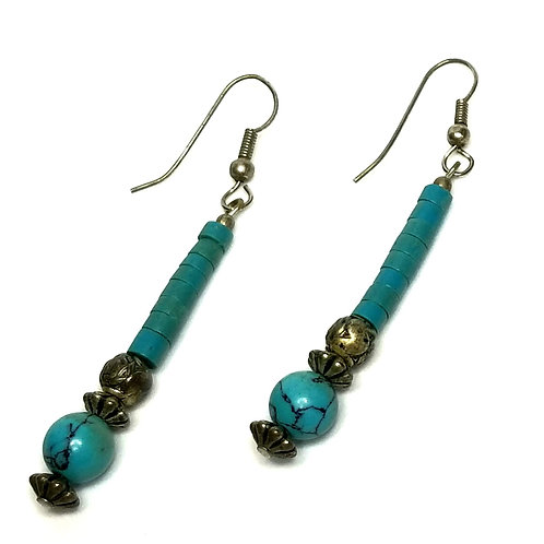 Designer by provenance, earrings, pierced wire dangles, turquoise color beads.