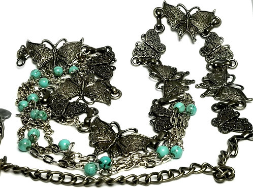Designer by provenance, belt, butterfly motif, turquoise color beads, 28-37 inch