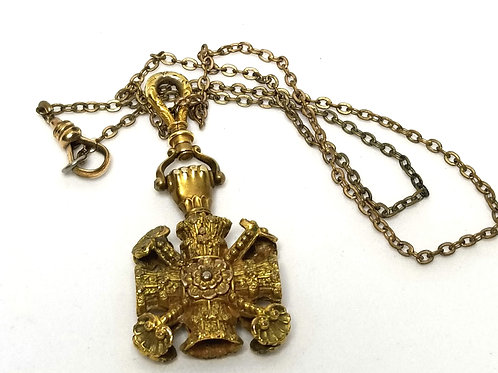 Designer by W&G, necklace and pendant, flower motif, gold tone.