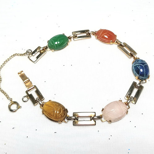 Designer by provenance, multi-colored scarab bracelet, gold tone, 7 1/4
