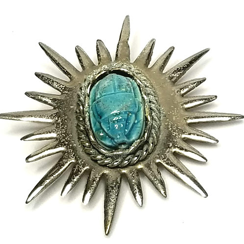 Designer by provenance, brooch, scarab motif, turquoise like stone, silver tone.