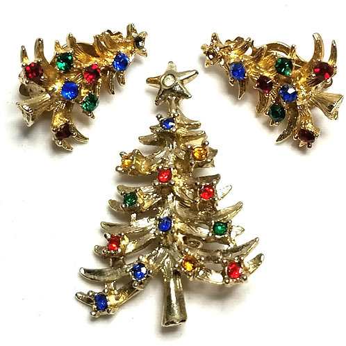 Designer by provenance, set, brooch and earrings, Christmas tree motif, multi co
