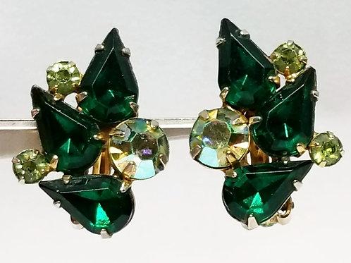 Designer by Garne, earrings, screw back green and yellow rhinestones.