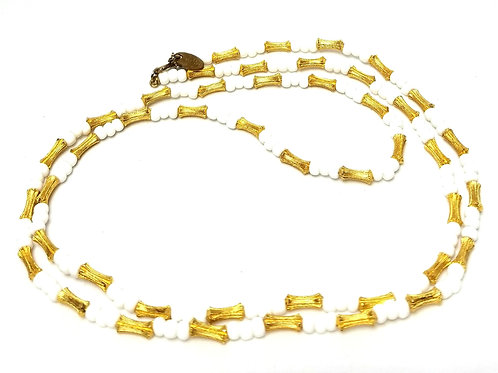 Designer by Les Bernard, necklace, white milk glass and gold tone beads, 30 inch