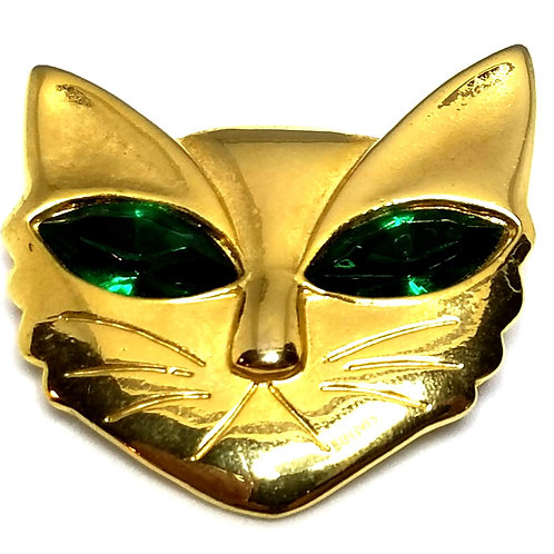 Designer by provenance, brooch, cat motif, green marquise stones, gold tone.