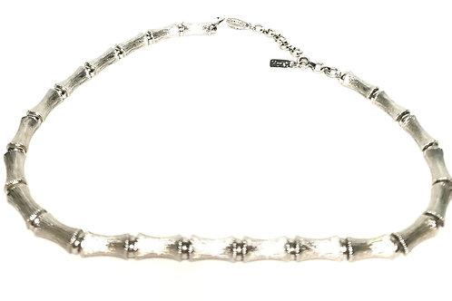 Designer by Monet, necklace, choker, bamboo motif, silver tone.