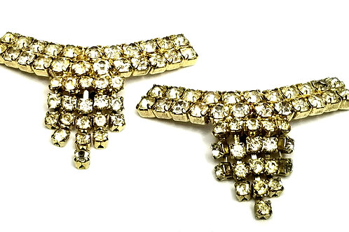 Designer by provenance, shoe clips, clear rhinestones, gold tone.