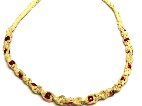Designer by provenance, anklet, red beads, cream rope, 10 inches.