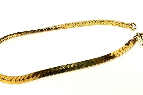 Designer by Monet, bracelet, herringbone, gold tone, 7 inches.