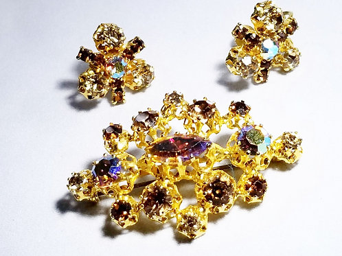 Designer by Austria, brooch and earrings set, AB multi colored rhinestones