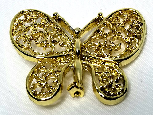 Designer by Sarah Cov, brooch, butterfly motif in gold tone.