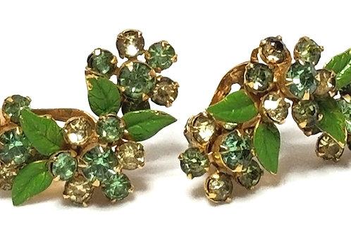 Designer by Weiss, earrings, clip on, flower motif, green /clear stones