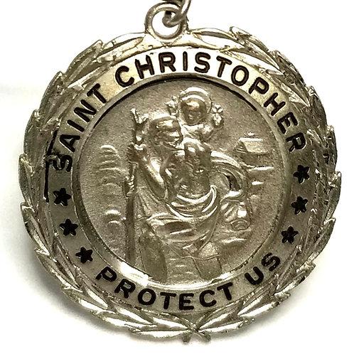 Designer by provenance, pendant, religious St. Christopher motif, Sterling.