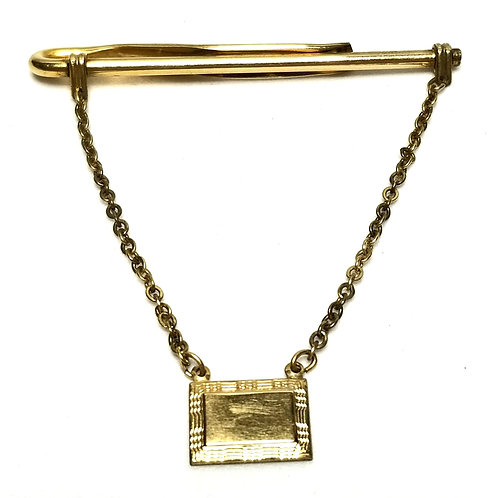 Designer by Anson, tie clip with chain, 12K gold filled, 2 1/3 inch.
