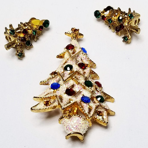 Designer by Eisenberg, set, brooch, clip on earrings, Christmas trees motif.