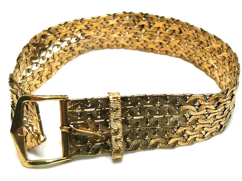 Designer by Krementz, bracelet, belt motif, gold filled, 6 to 7 inches.