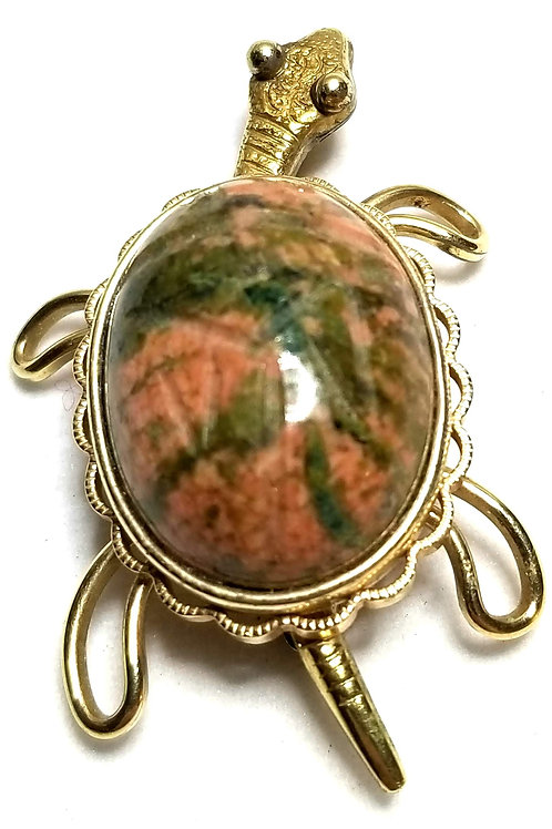 Designer by provenance, brooch, turtle motif, multi color stone shell, gold tone