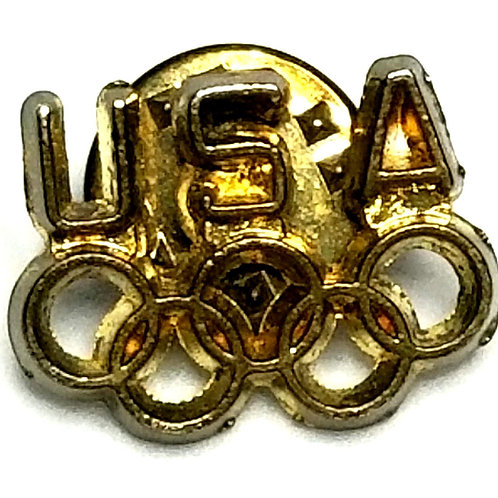 Designer by provenance, tie tack, USA Olympics motif, gold tone.