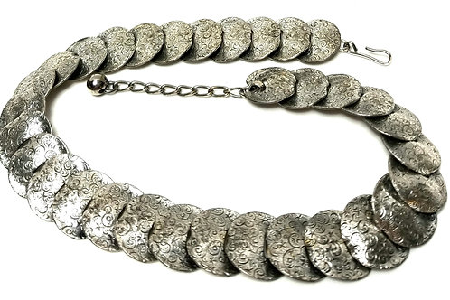 Designer by Napier, necklace, choker, patterned silver tone rounds.