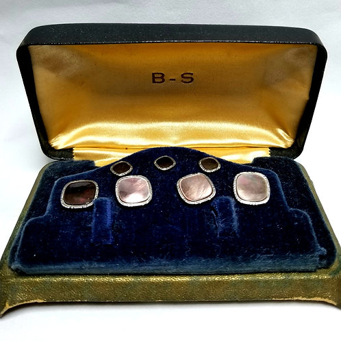 Designer by BS, set, cuff links/buttons, abalone in silver tone and gold tone