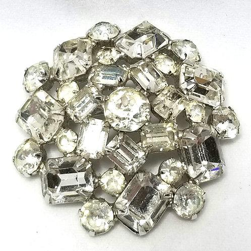 Designer by Weiss, brooch, wreath motif, clear rhinestones in silver tone.