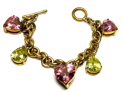Designer by provenance, bracelet, charms, heart motif, pink and green faceted.