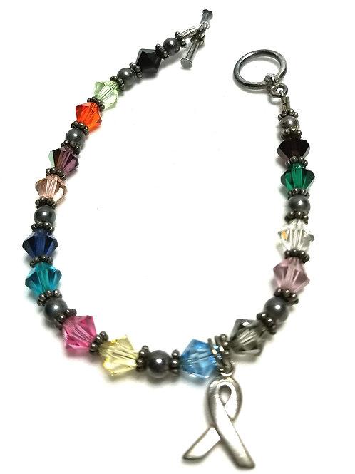 Designer by provenance, bracelet, breast cancer motif, multi color glass beads.