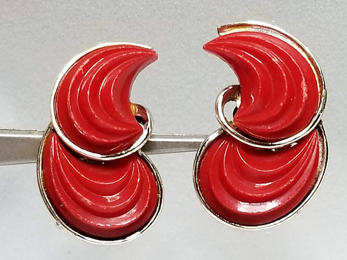 Designer by Lisner, earrings, clip on, red cabochons in silver tone pot metal.
